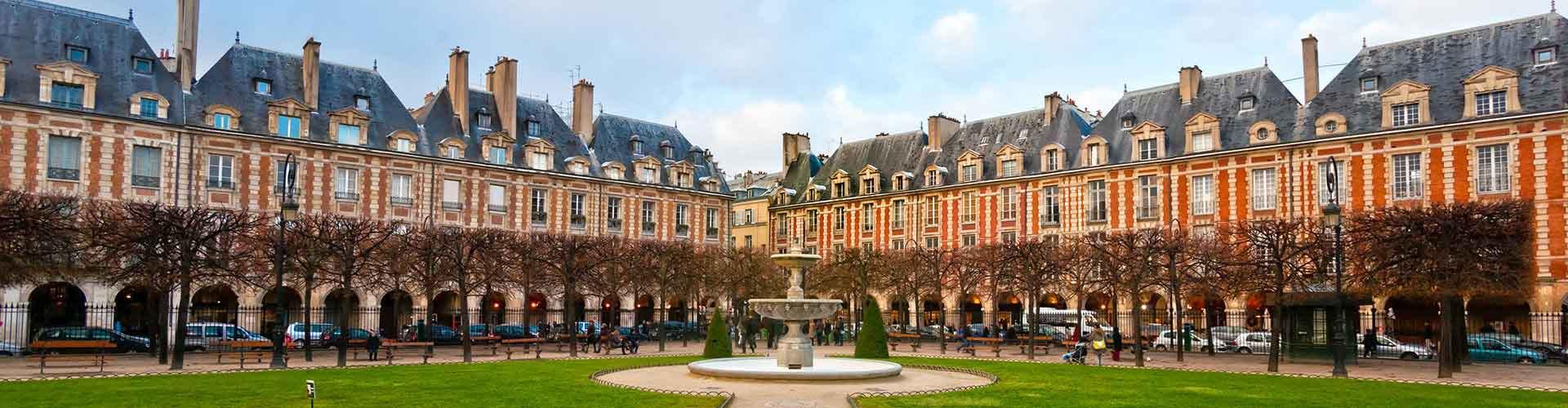 Pariisi – Hostellit lähellä Place des Vosges. Pariisi -karttoja, valokuvia ja arvosteluja kaikista Pariisi -hostelleista.
